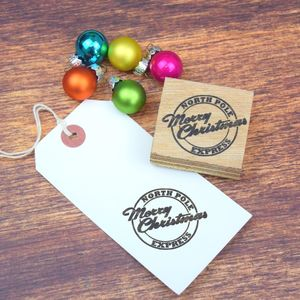 Merry Christmas Postmark Rubber Stamp - cards & wrap
