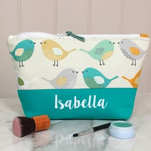 Personalised Colourful Birds Make Up Bag Or Wash Bag