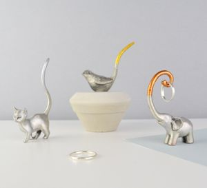 Metallic Ring Holder Cat, Elephant Or Bird - jewellery storage & trinket boxes