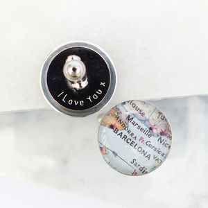 Personalised Sterling Silver Map Cufflinks - personalised jewellery for men