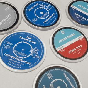 Personalised Vinyl Record Coasters Set Of Four