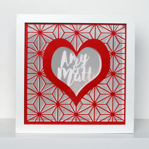 Framed Personalised Couple Love Heart Papercut Art - shop by subject