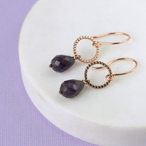 Amethyst And Rose Gold Drop Earrings