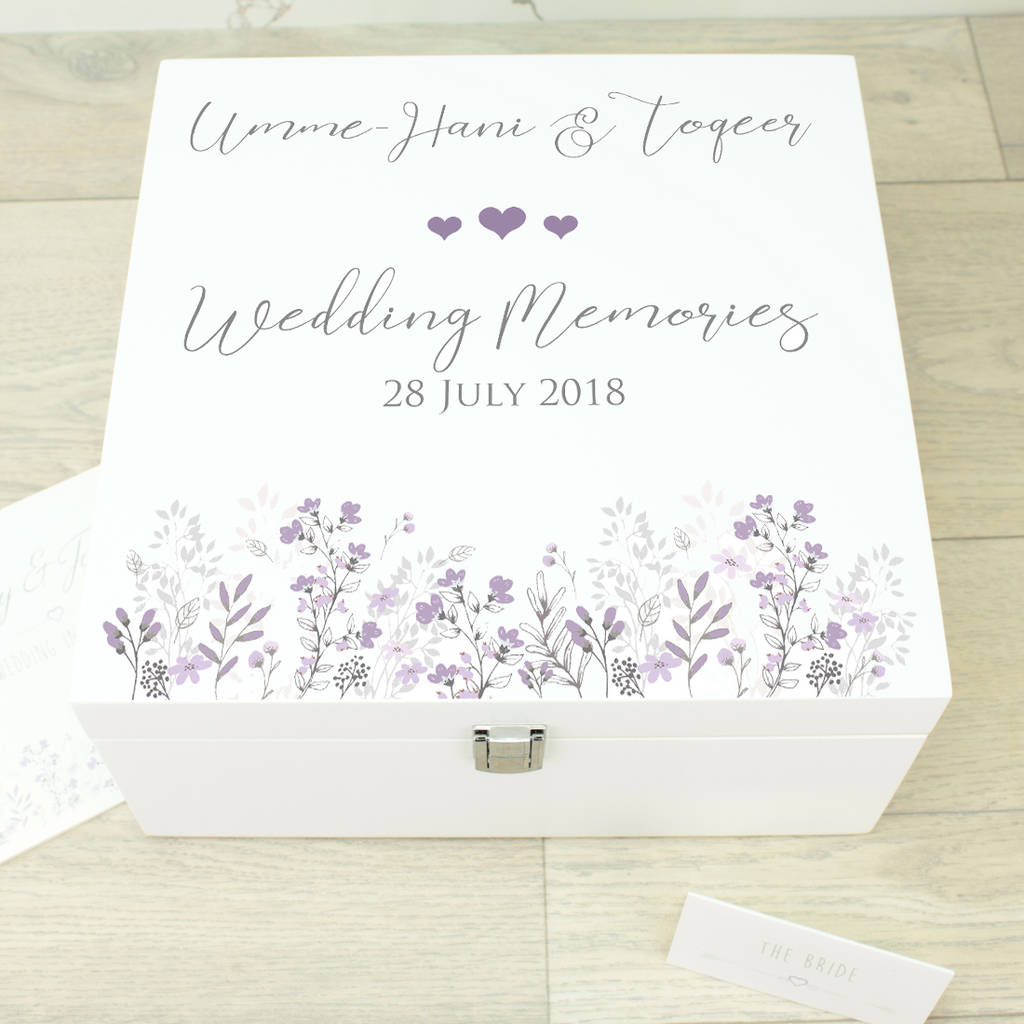 Large Emma White Wooden Wedding Memory Box