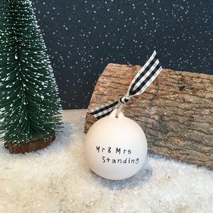Personalised 'Mr And Mrs' Christmas Ceramic Bauble