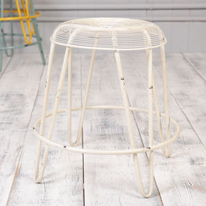 Industrial Cream Wire Work Stool - stools