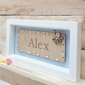 Personalised Boy's Name Oak Artwork - door plaques & signs