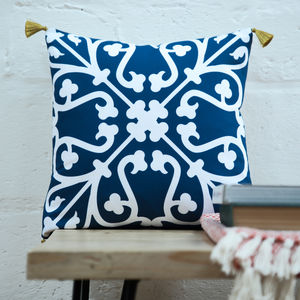 Moroccan Tile Cushion In Blue