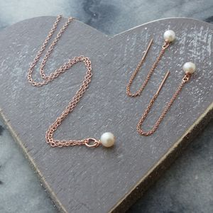 Rose Gold And Aa Pearls Jewellery Set - bridal necklaces