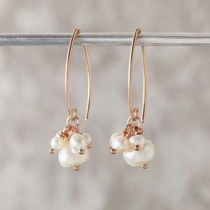 Pearl Cluster Earrings In Rose Gold