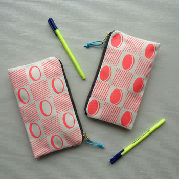 Checkerboard Screenprinted Fabric Pencil Case Pouch
