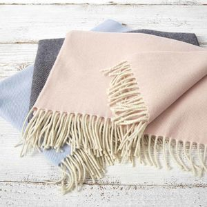 Cashmere Merino Baby Blanket Charcoal, Blush, Blue - blankets & throws