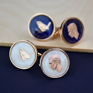 Farthing 70th 1946 Rose Gold Enamel Coin Cufflinks - cufflinks