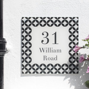Personalised House Number Sign, Geometric Vector