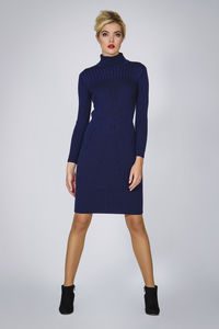 Cleo Blue Two Tone Ribbed Knit Dress - women's fashion