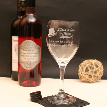 Personalised Father Of The Groom Wine Glass In Gift Box