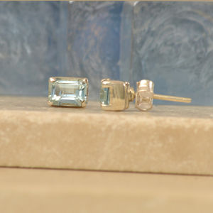 Blue Topaz Baguette Stud Earrings - earrings