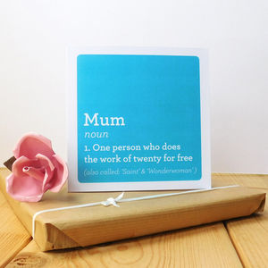 Mum Definition Card - view all mother's day gifts