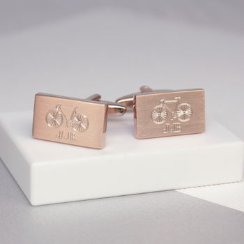 Personalised Bicycle And Initial Rectangle Cufflinks