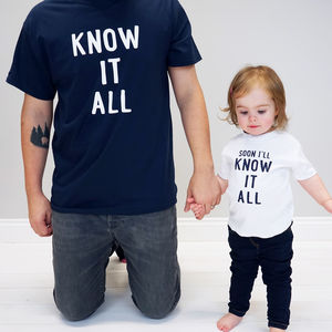 Personalised Know It All Daddy And Me Tshirt Set