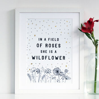 Wildflower Print With Gold