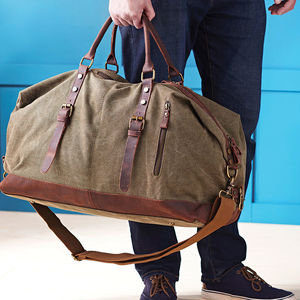 Personalised Canvas Classic Travel Holdall Bag - gifts for him