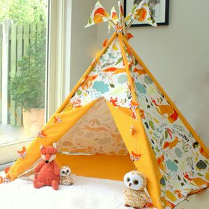 Woodland Fox Print Wigwam With Flags - tents, dens & teepees