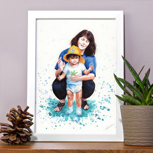 Mother And Daughter / Son Portrait Illustration