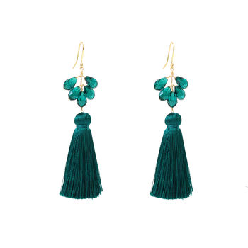 Tassel Emerald Crystal Earrings
