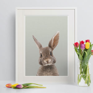Nursery Print Peekaboo Brown Rabbit - modern & abstract