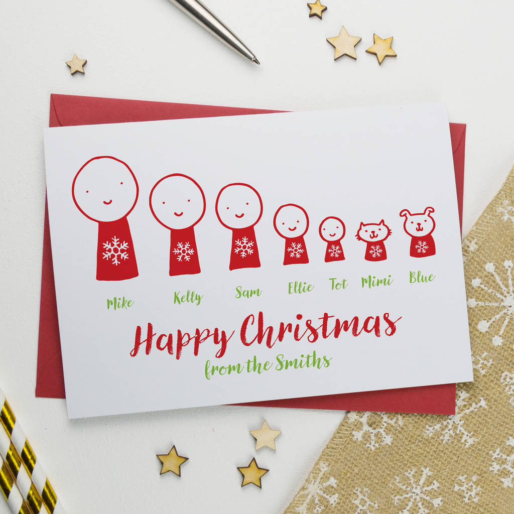 Personalised Cartoon Christmas Card Pack Or Single By A Is