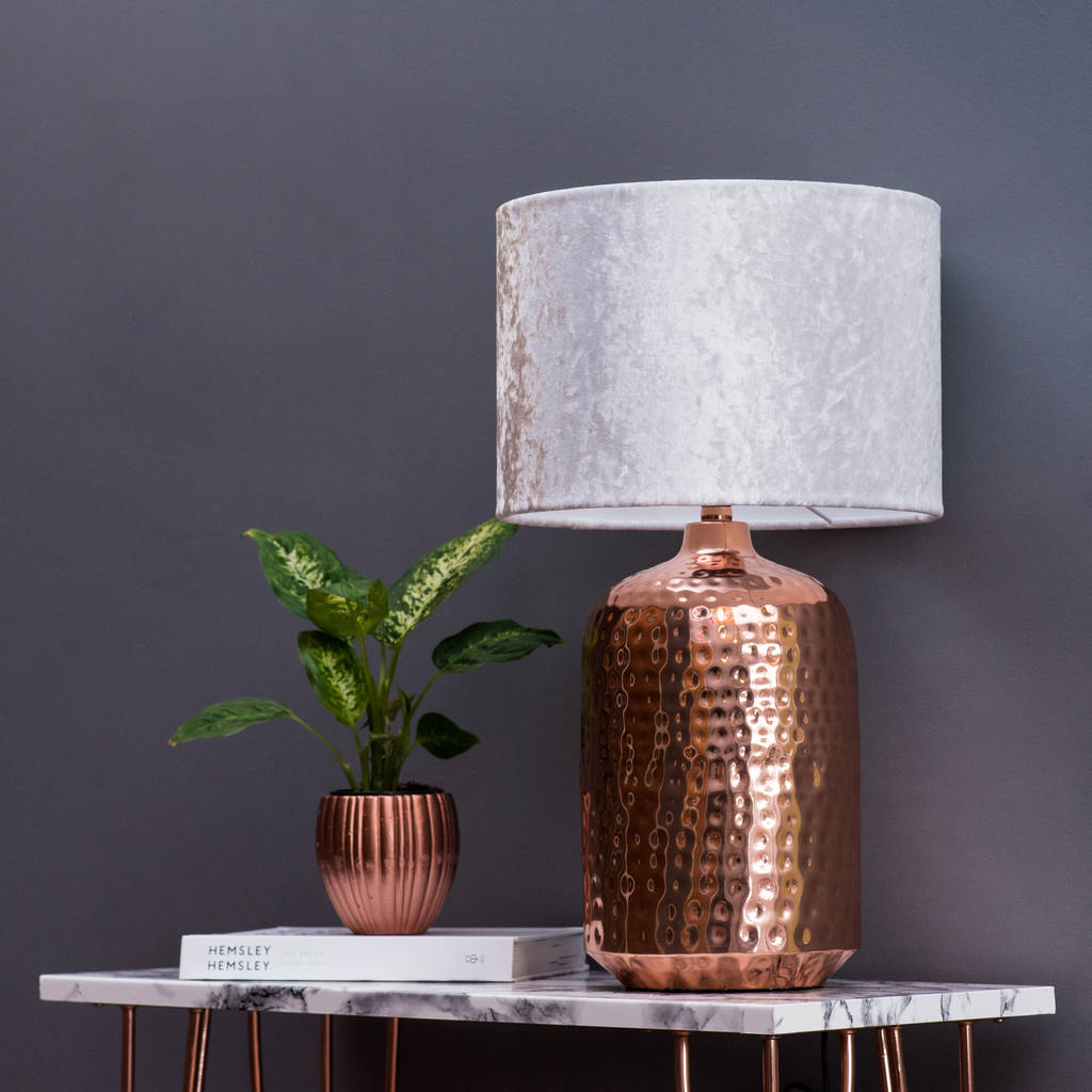Copper Table Lamp With Choice Of Velvet Lampshade By Quirk