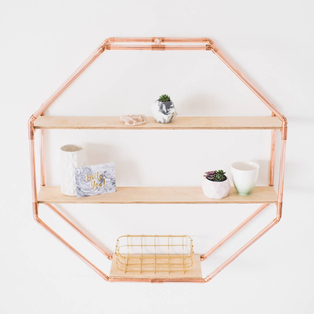 Copper octagon shelf wall hanging by little deer for Decoration maison rose gold