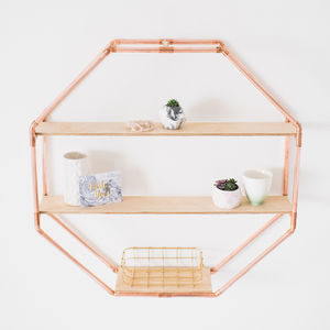 Copper Octagon Shelf Wall Hanging - small space ideas