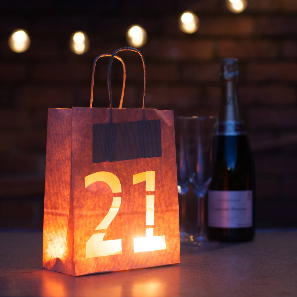 21st birthday party decorations lantern bag by baloolah bunting
