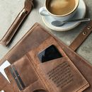 Personalised Brown Leather Credit Card And Phone Wallet