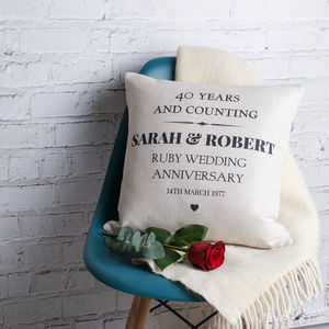 Ruby Wedding Anniversary Cushion Cover - bedroom
