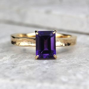 Solid 9ct Gold Amethyst Guinevere Ring - unique engagement rings