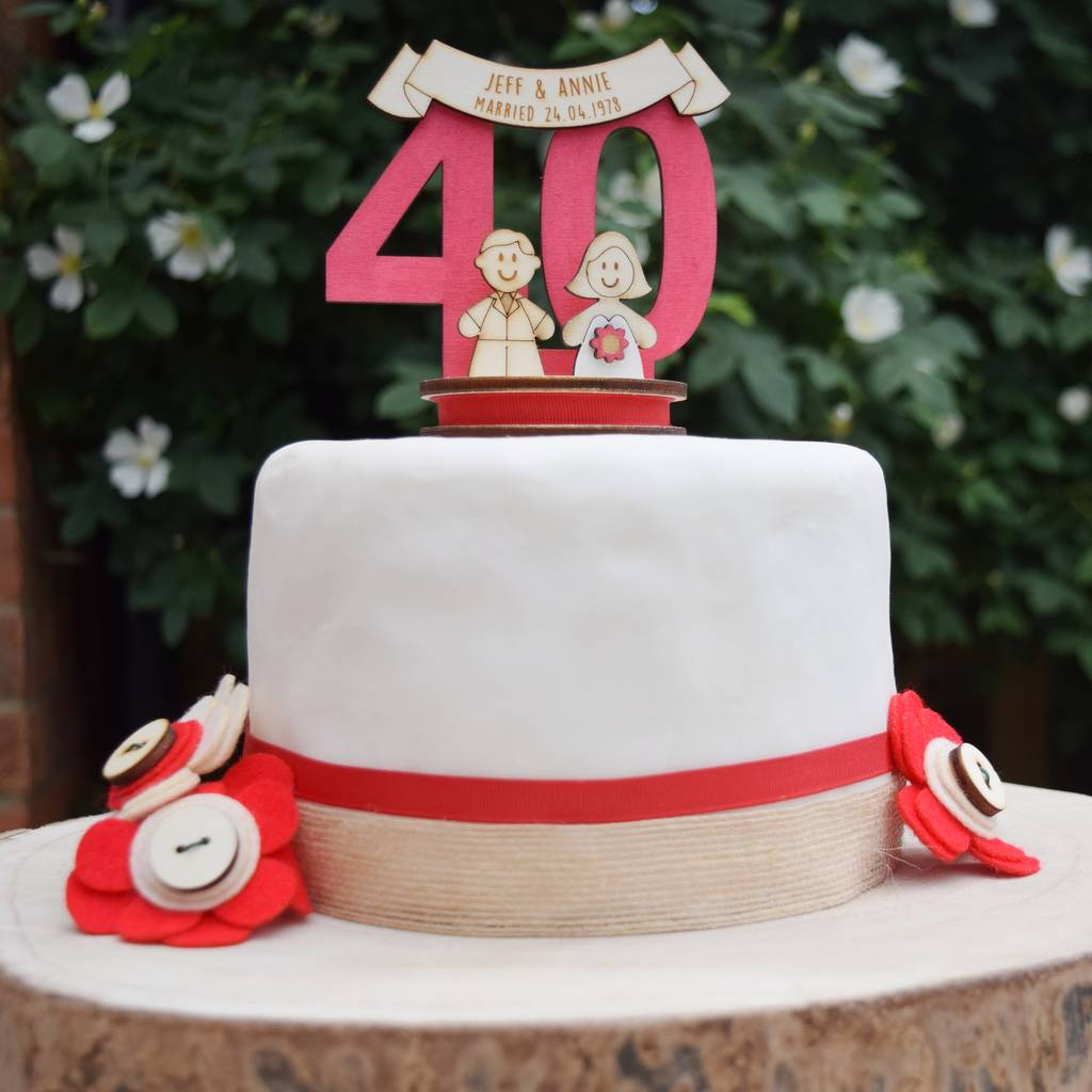 Fantastic Personalised 40Th Anniversary Cake Topper By Just Toppers Funny Birthday Cards Online Alyptdamsfinfo