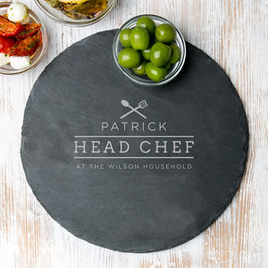 'Head Chef' Personalised Round Slate Board