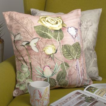 Pressed Pink And White Rose Floral Sofa Cushion