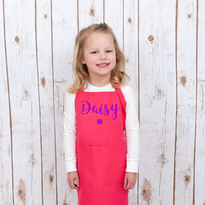 Girls Personalised Pink Baking Apron With Name - kitchen