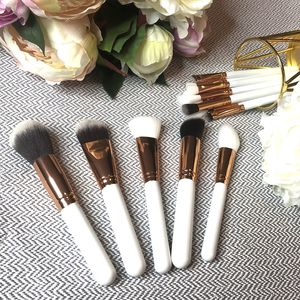 15pc White And Gold Makeup Brush Set