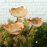 Copper Heart Birdbath Sculpture - garden
