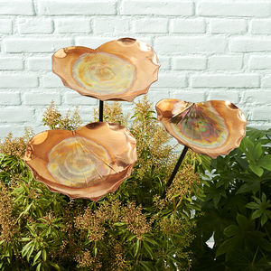 Copper Heart Birdbath Sculpture - bird feeders