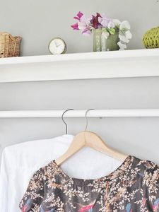 Vintage Styled Wooden Clothes Rail With Top Shelf - bedroom