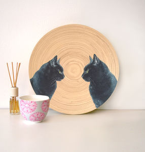 Bespoke Cat / Dog Pet Portrait Painting On A Plate