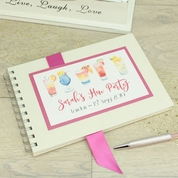 Personalised Cocktail Hen Party Memory Guest Book