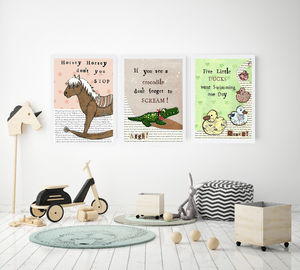 Set Of Three Nursery Rhyme Prints