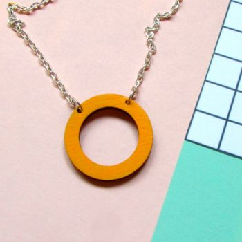 Mustard Yellow Wooden Circle Hoop Necklace